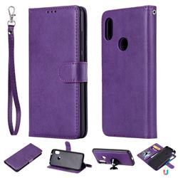 Retro Greek Detachable Magnetic PU Leather Wallet Phone Case for Xiaomi Mi A2 Lite (Redmi 6 Pro) - Purple