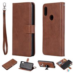 Retro Greek Detachable Magnetic PU Leather Wallet Phone Case for Xiaomi Mi A2 Lite (Redmi 6 Pro) - Brown