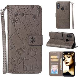 Embossing Fireworks Elephant Leather Wallet Case for Xiaomi Mi A2 Lite (Redmi 6 Pro) - Gray