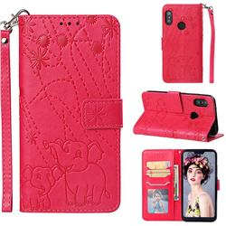 Embossing Fireworks Elephant Leather Wallet Case for Xiaomi Mi A2 Lite (Redmi 6 Pro) - Red