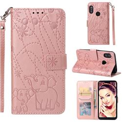 Embossing Fireworks Elephant Leather Wallet Case for Xiaomi Mi A2 Lite (Redmi 6 Pro) - Rose Gold