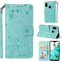 Embossing Fireworks Elephant Leather Wallet Case for Xiaomi Mi A2 Lite (Redmi 6 Pro) - Green