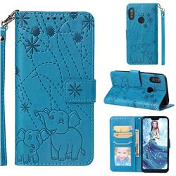 Embossing Fireworks Elephant Leather Wallet Case for Xiaomi Mi A2 Lite (Redmi 6 Pro) - Blue