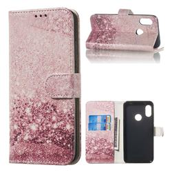 Glittering Rose Gold PU Leather Wallet Case for Xiaomi Mi A2 Lite (Redmi 6 Pro)