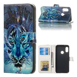 Ice Wolf 3D Relief Oil PU Leather Wallet Case for Xiaomi Mi A2 Lite (Redmi 6 Pro)
