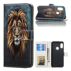 Ice Lion 3D Relief Oil PU Leather Wallet Case for Xiaomi Mi A2 Lite (Redmi 6 Pro)