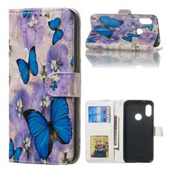 Purple Flowers Butterfly 3D Relief Oil PU Leather Wallet Case for Xiaomi Mi A2 Lite (Redmi 6 Pro)