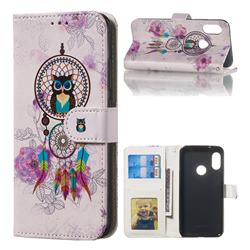 Wind Chimes Owl 3D Relief Oil PU Leather Wallet Case for Xiaomi Mi A2 Lite (Redmi 6 Pro)