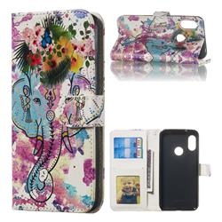 Flower Elephant 3D Relief Oil PU Leather Wallet Case for Xiaomi Mi A2 Lite (Redmi 6 Pro)