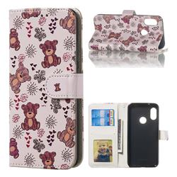 Cute Bear 3D Relief Oil PU Leather Wallet Case for Xiaomi Mi A2 Lite (Redmi 6 Pro)