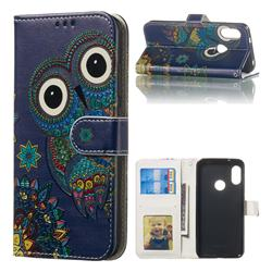 Folk Owl 3D Relief Oil PU Leather Wallet Case for Xiaomi Mi A2 Lite (Redmi 6 Pro)