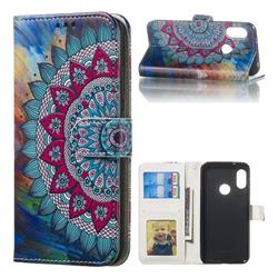Mandala Flower 3D Relief Oil PU Leather Wallet Case for Xiaomi Mi A2 Lite (Redmi 6 Pro)
