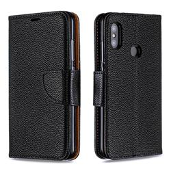 Classic Luxury Litchi Leather Phone Wallet Case for Xiaomi Mi A2 Lite (Redmi 6 Pro) - Black