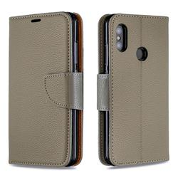 Classic Luxury Litchi Leather Phone Wallet Case for Xiaomi Mi A2 Lite (Redmi 6 Pro) - Gray