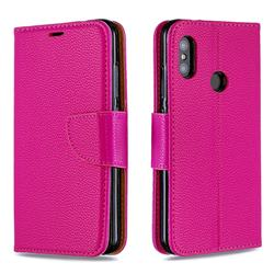 Classic Luxury Litchi Leather Phone Wallet Case for Xiaomi Mi A2 Lite (Redmi 6 Pro) - Rose