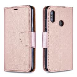 Classic Luxury Litchi Leather Phone Wallet Case for Xiaomi Mi A2 Lite (Redmi 6 Pro) - Golden