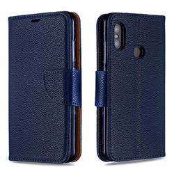 Classic Luxury Litchi Leather Phone Wallet Case for Xiaomi Mi A2 Lite (Redmi 6 Pro) - Blue