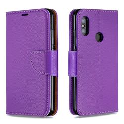 Classic Luxury Litchi Leather Phone Wallet Case for Xiaomi Mi A2 Lite (Redmi 6 Pro) - Purple
