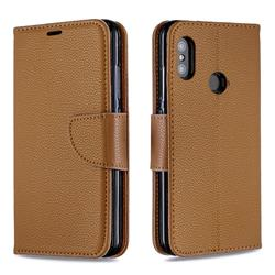 Classic Luxury Litchi Leather Phone Wallet Case for Xiaomi Mi A2 Lite (Redmi 6 Pro) - Brown