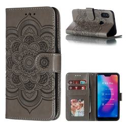 Intricate Embossing Datura Solar Leather Wallet Case for Xiaomi Mi A2 Lite (Redmi 6 Pro) - Gray