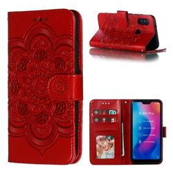 Intricate Embossing Datura Solar Leather Wallet Case for Xiaomi Mi A2 Lite (Redmi 6 Pro) - Red