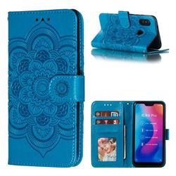Intricate Embossing Datura Solar Leather Wallet Case for Xiaomi Mi A2 Lite (Redmi 6 Pro) - Blue