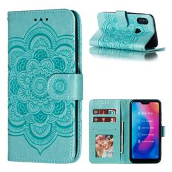 Intricate Embossing Datura Solar Leather Wallet Case for Xiaomi Mi A2 Lite (Redmi 6 Pro) - Green