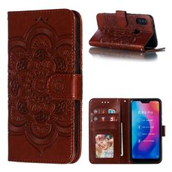 Intricate Embossing Datura Solar Leather Wallet Case for Xiaomi Mi A2 Lite (Redmi 6 Pro) - Brown