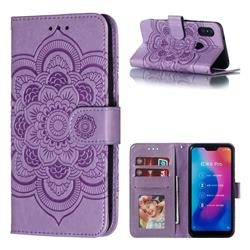 Intricate Embossing Datura Solar Leather Wallet Case for Xiaomi Mi A2 Lite (Redmi 6 Pro) - Purple