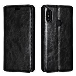 Retro Slim Magnetic Crazy Horse PU Leather Wallet Case for Xiaomi Mi A2 Lite (Redmi 6 Pro) - Black