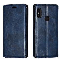 Retro Slim Magnetic Crazy Horse PU Leather Wallet Case for Xiaomi Mi A2 Lite (Redmi 6 Pro) - Blue
