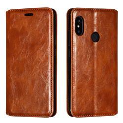 Retro Slim Magnetic Crazy Horse PU Leather Wallet Case for Xiaomi Mi A2 Lite (Redmi 6 Pro) - Brown