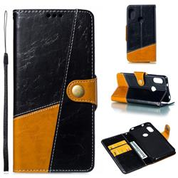 Retro Magnetic Stitching Wallet Flip Cover for Xiaomi Mi A2 Lite (Redmi 6 Pro) - Black