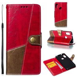 Retro Magnetic Stitching Wallet Flip Cover for Xiaomi Mi A2 Lite (Redmi 6 Pro) - Rose Red