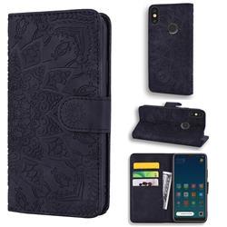 Retro Embossing Mandala Flower Leather Wallet Case for Xiaomi Mi A2 Lite (Redmi 6 Pro) - Black