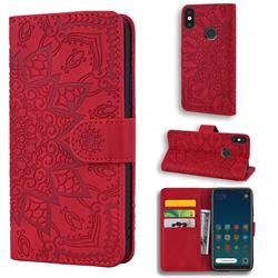 Retro Embossing Mandala Flower Leather Wallet Case for Xiaomi Mi A2 Lite (Redmi 6 Pro) - Red