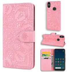 Retro Embossing Mandala Flower Leather Wallet Case for Xiaomi Mi A2 Lite (Redmi 6 Pro) - Pink