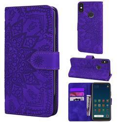 Retro Embossing Mandala Flower Leather Wallet Case for Xiaomi Mi A2 Lite (Redmi 6 Pro) - Purple