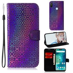 Laser Circle Shining Leather Wallet Phone Case for Xiaomi Mi A2 Lite (Redmi 6 Pro) - Purple