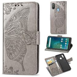 Embossing Mandala Flower Butterfly Leather Wallet Case for Xiaomi Mi A2 Lite (Redmi 6 Pro) - Gray