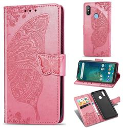 Embossing Mandala Flower Butterfly Leather Wallet Case for Xiaomi Mi A2 Lite (Redmi 6 Pro) - Pink