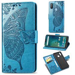 Embossing Mandala Flower Butterfly Leather Wallet Case for Xiaomi Mi A2 Lite (Redmi 6 Pro) - Blue