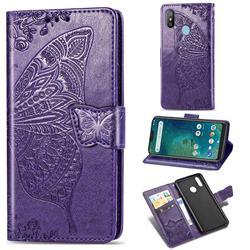 Embossing Mandala Flower Butterfly Leather Wallet Case for Xiaomi Mi A2 Lite (Redmi 6 Pro) - Dark Purple