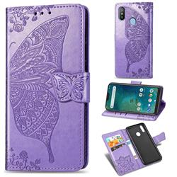 Embossing Mandala Flower Butterfly Leather Wallet Case for Xiaomi Mi A2 Lite (Redmi 6 Pro) - Light Purple