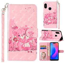 Pink Bear 3D Leather Phone Holster Wallet Case for Xiaomi Mi A2 Lite (Redmi 6 Pro)