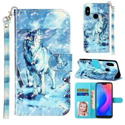 Snow Wolf 3D Leather Phone Holster Wallet Case for Xiaomi Mi A2 Lite (Redmi 6 Pro)