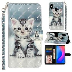 Kitten Cat 3D Leather Phone Holster Wallet Case for Xiaomi Mi A2 Lite (Redmi 6 Pro)