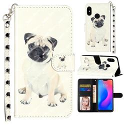 Pug Dog 3D Leather Phone Holster Wallet Case for Xiaomi Mi A2 Lite (Redmi 6 Pro)