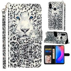 White Leopard 3D Leather Phone Holster Wallet Case for Xiaomi Mi A2 Lite (Redmi 6 Pro)