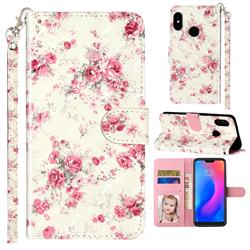 Rambler Rose Flower 3D Leather Phone Holster Wallet Case for Xiaomi Mi A2 Lite (Redmi 6 Pro)